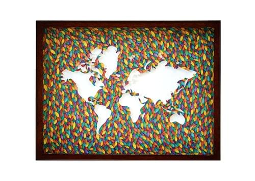 World Map Paper Quilling Art Work - 1st Anniversary Gift - Paper Quilled Framed Art - Home Decor
