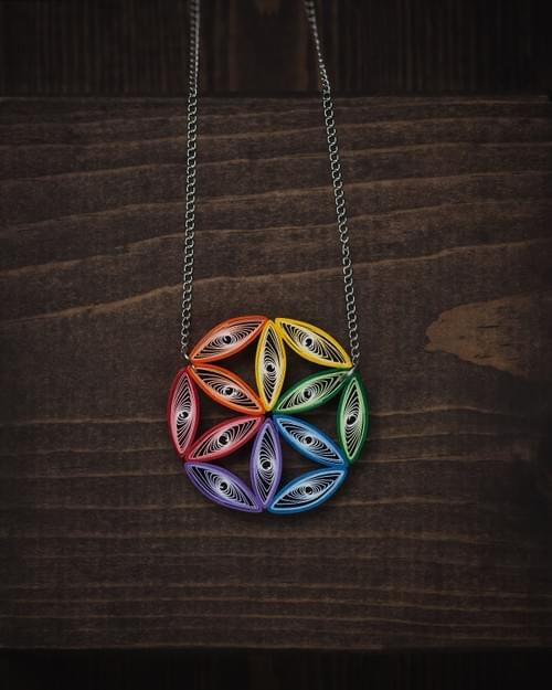 Flower Of Life Big Colorful Paper Quilling Pendant - Sacred Geometry Jewelry - Mother's Day Gift