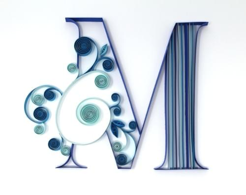 M Letter 1st Anniversary Paper Quilling Art Work Gift - Letting Collection - Framed Quilled Art