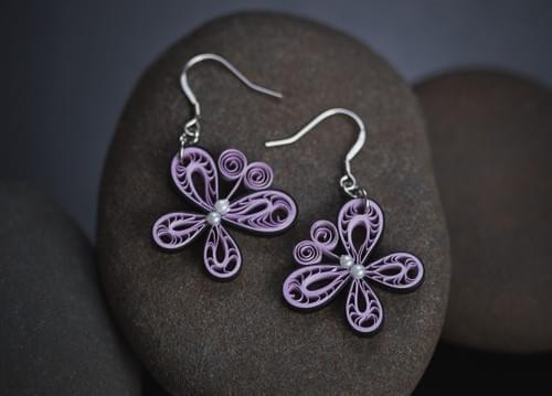 Purple Butterfly Paper Quilling Earrings - 1st Anniversary Gift For Her - Paper Quilled Jewelry
