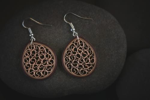 Madhu(Delicious) -Brown Filigree Paper Quilling Earrings - Paper Quilled Jewelry - 1st Anniversary