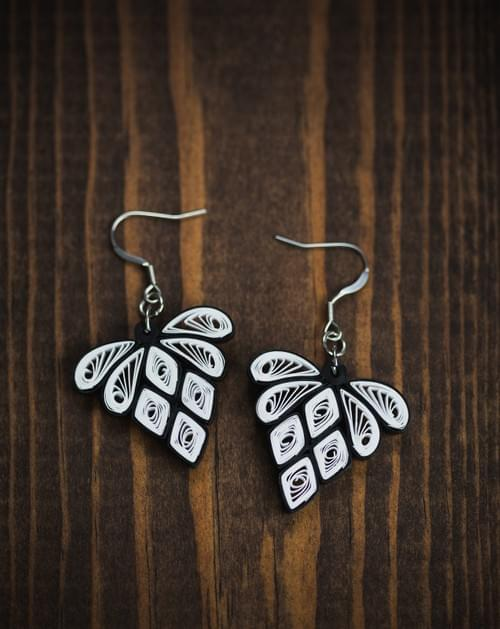 Hira(Diamond) - Black and White Paper Quilling Earrings - 1st Anniversary Gift for Her