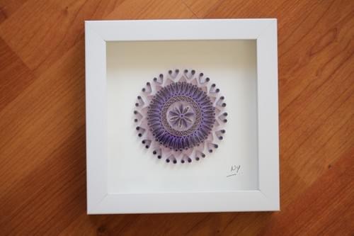 Zona - Purple Paper Quilling Yoga Mandala Art Work - 1st anniversary gift for her - Sacred Geometry