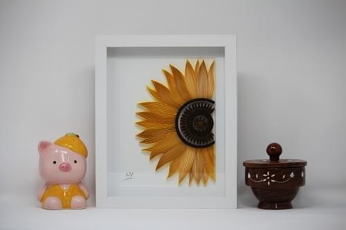 Surya Mukhi - Sunflower Mandala Paper Quilling Art Work - 1st Anniversary Gift For Her - Quilled Art