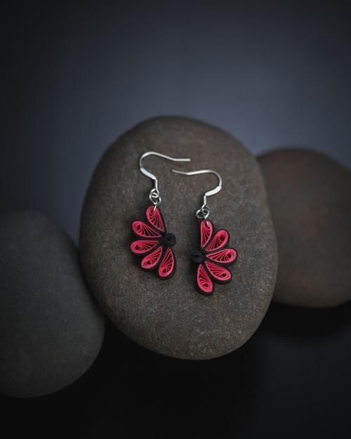 Kausuma(Flower) - Boho Flower Paper Quilling Earrings - 1st Anniversary Gift For Her - Paper Jewelry