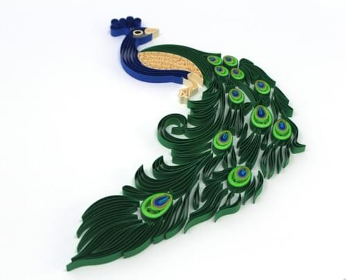 Peacock 1st Anniversary Gift Paper Quilling Wall Art - Paper Quilled Peacock Framed Art Work