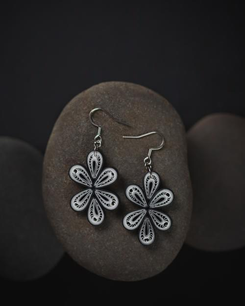 Sudha(Pristine) - Black and White Paper Quilling Earrings - One Year Anniversary Gift -Paper Jewelry 1