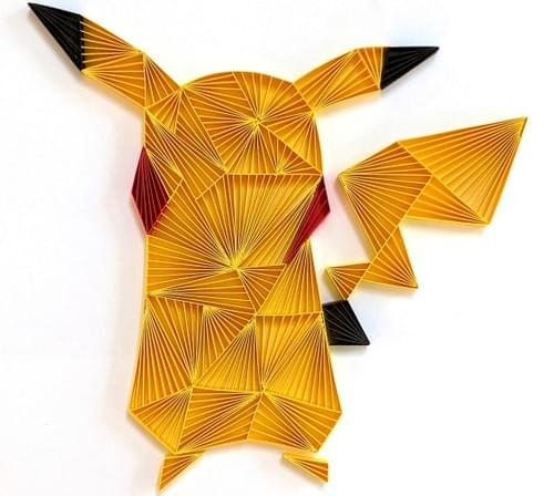 Pikachu Pokemon Geometric Paper Quilling Art - Mother's Day Gift For Mom - Pokemon Art Gift