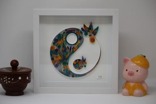 Yin Yang Quilled Paper Art- Framed Quilling Art - Sacred Geometry Art - Yoga Studio Decor -Art Gifts