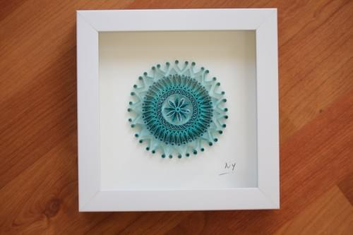 Peraja - Turquoise Mandala/ Mini Mandala/ Yoga Art/ Meditation Art/ Quilling/ Mandalas/ Quilling Art