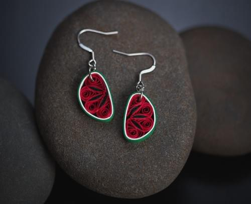 Kaligga - Watermelon Fruit Earrings - Paper Quilling Earrings - Paper Quilled Fruit Jewelry