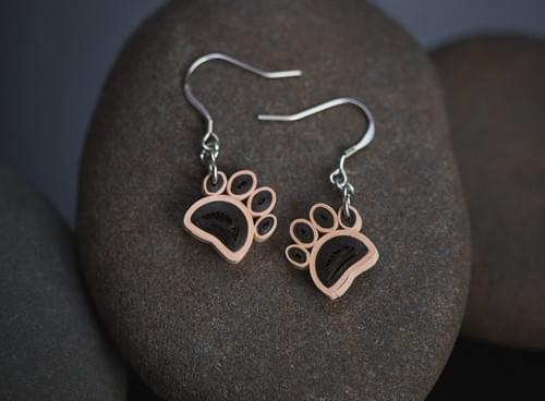 Dog Paw Dangle Paper Quilling Earrings - Paper Quilling Jewelry - 1st Anniversary Gift For Her