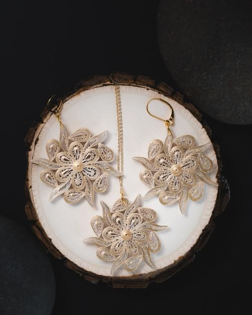 Double Sided Snowflake Earrings & Necklace Set - 1st Anniversary Gift for Her - Paper Earrings