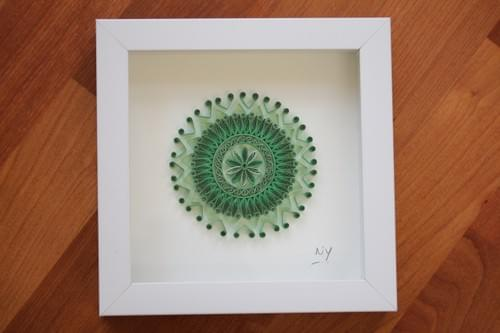 Hasti - Green Mandala/ Minis/ Mandalas/ Yogic Art/ Meditation Art/ Quilled Mandalas/ Art/ Green Love