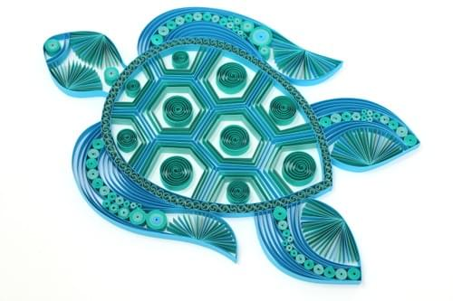 Kurma - Sea Turtle Paper Quilling Art Work - Paper quilled Art - 1st Anniversary Gift for couples