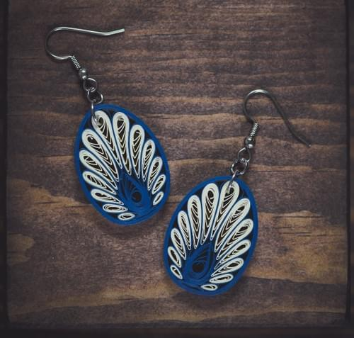 Kaladhvani(Peacock) - Peacock Blue Paper Quilling Earrings - 1st Anniversary Gift - Paper Jewelry