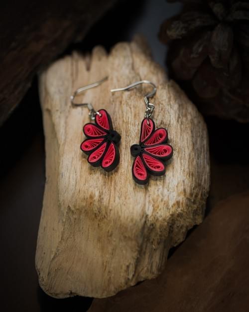 Kausuma - Made of Flowers/ Flower Earrings/ Quilling Earrings/ 1st anniversary gift/ Paper Earrings