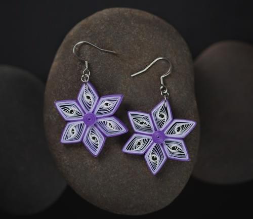 Tara(Star) - Purple Star Paper Quilling Earrings - One Year Anniversary Gift - Paper Boho Jewelry