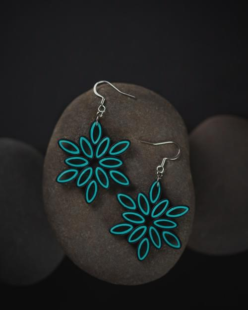 Turquoise Flower Dangle Paper Quilling Earrings - 1st Anniversary Gift - Paper Quilled Jewelry