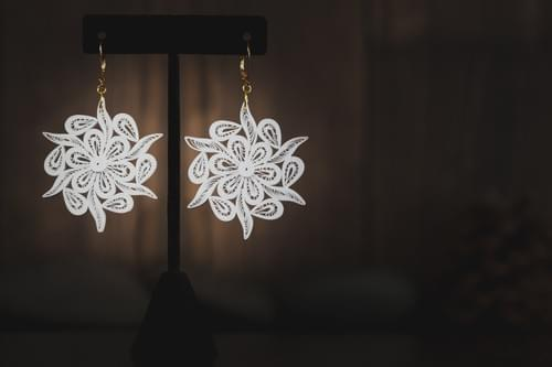 1st Anniversary Paper Quilling Earrings Gift For Her - Gold Paper Earrings -Snow Flake Earrings
