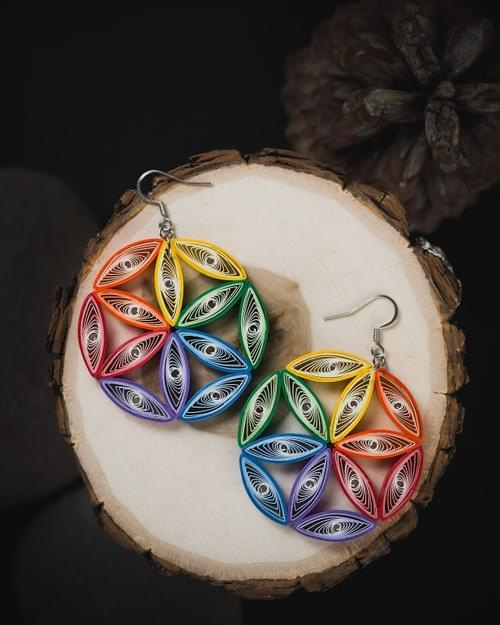 Flower Of Life Sacred Geometry Big Quilling Earrings - Colorful Rainbow Light Weight Jewelry