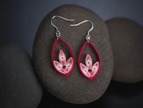 Red earrings/ Quilling earrings/ Red paper earrings/ Quilling jewelry/ Paper Jewelry/ A gift for her