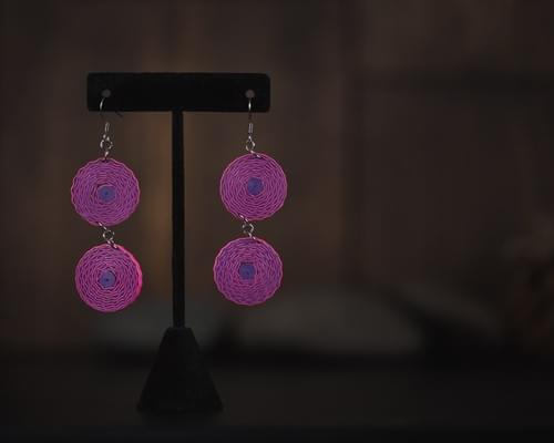 Neelakshi - Pink Long Quilling Earrings - Paper Earrings - Quilled Jewelry -1st  Anniversary Gift