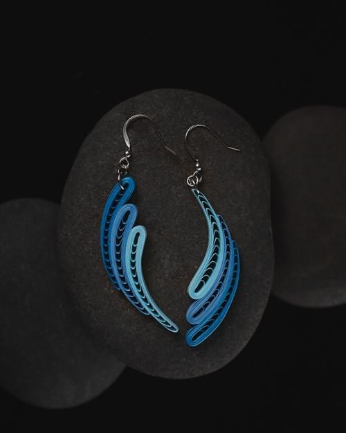 Urmi(Waves) - Sky Blue Long 1st Anniversary Earrings Gift - Geometric Paper Quilling Earrings
