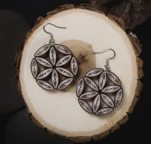 Flower Of Life Big Brown Paper Quilling Earrings - Geometric Paper Quilled Jewelry - Christmas Gift
