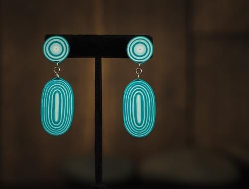 Baruh - Turquoise Aqua Paper Quilling Earrings - 1st Anniversary Gift For Her - Summer Boho Earrings