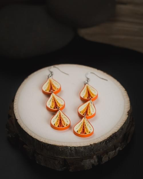 Trika(Threefold) - Orange Long Paper Quilling Earrings - 1st Anniversary Gift For Her  1
