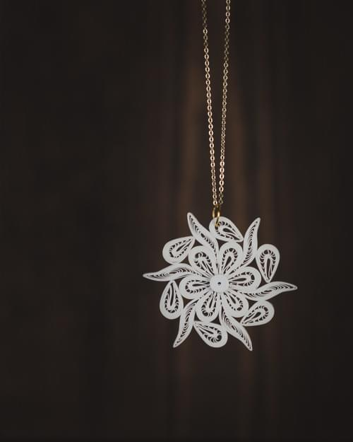 Quilled Snowflake Necklace - 1st Anniversary Gift For Her - Paper Quilled Snowflake Jewelry