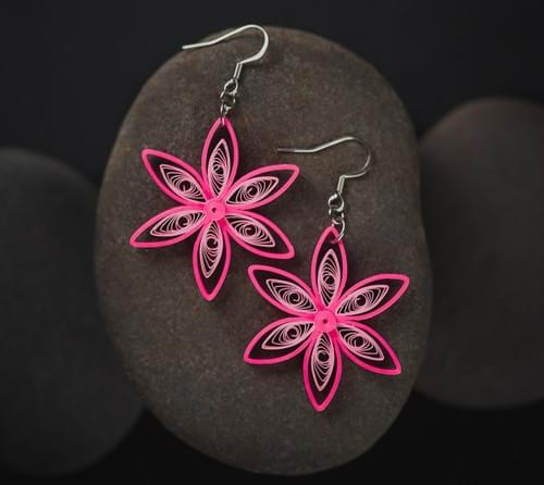 Pink Flower Paper Quilling Earrings - Paper Quilled Jewelry - 1st Anniversary Gift for her
