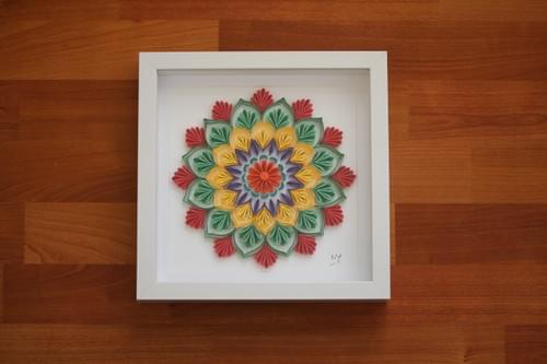 Rang - Mandala Paper Quilling Art work - Sacred Geometry Paper Quilled Art Work - Yoga Studio Decor