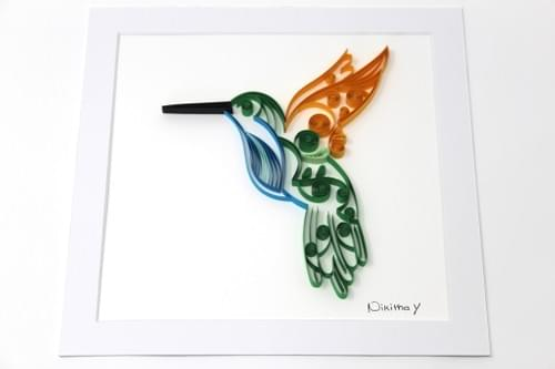 Humming Bird Paper Quilling Art Work - 1st Anniversary Gift - Paper Quilled Framed Art Work