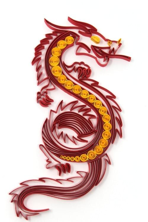 Vritra - Chinese Dragon Paper Quilling Wall Art - One Year Anniversary Gift - Housewarming Gift
