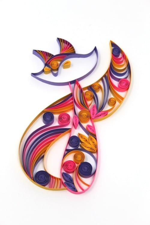 Cat Paper Quilling Art work - 1st Anniversary Gift for her - Framed Animal Wall Art - Quilled Art