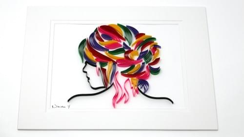The Lady Paper Quilling Art Work - One Year Anniversary Gift - Mother's Day Gift for Mom