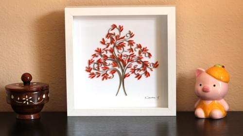 Titha Dru - Fall Tree Paper Quilling Art Work - 1st Anniversary Gift - Paper Quilled Framed Art Work
