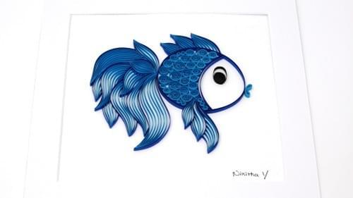 Matsya - Fish Framed Paper Quilling Art Work - One Year Anniversary Gift - Paper Quilled Art Work