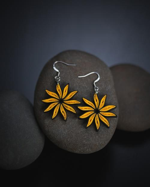 SuryaMukhi - Sunflower 1st Anniversary Paper Quilling Earrings Gift - Paper Quilled Jewelry - Gift