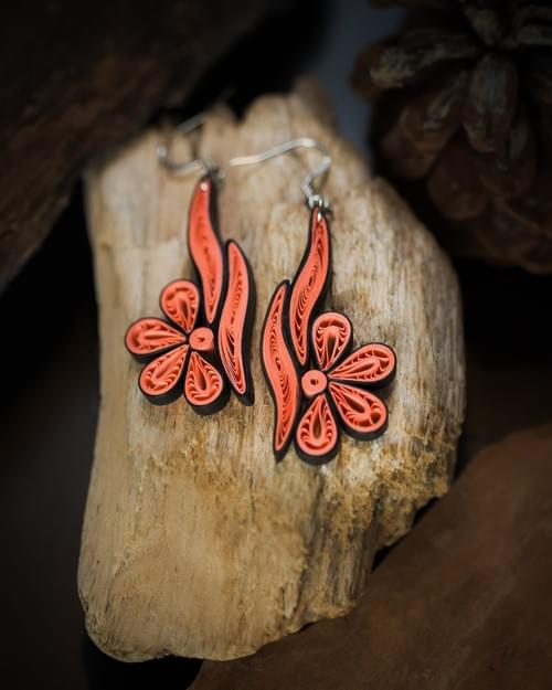Sindhu(River) - Long Paper Quilling Earrings - 1st Anniversary Gift for Her - Paper Quilled Jewelry
