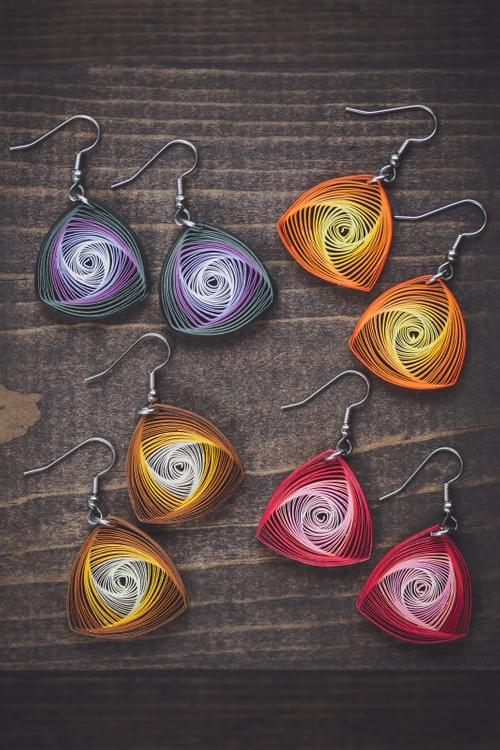 Karnika(Whorl) - Red Geometric Paper Quilling Earrings - One Year Anniversary Gift - Paper Jewelry