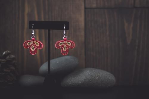 Pijjara(Rose) - Red Quilling Earrings - Paper Quilled Jewelry - 1 year anniversary gift for her