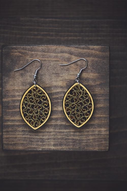 Saundarya - Beauty/  Paper earrings/ Quilling/Filigree earrings/Black earrings/ Yellow earrings