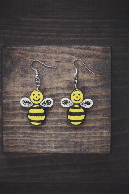 Brahmara - Bumble Bee Yellow Paper Quilling Earrings - 1st Anniversary Gift For Her - Paper Jewelry