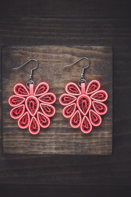 Nissi(Victory) - Big Peach Paper Quilling Earrings - 1st Anniversary gift for her - Paper jewelry