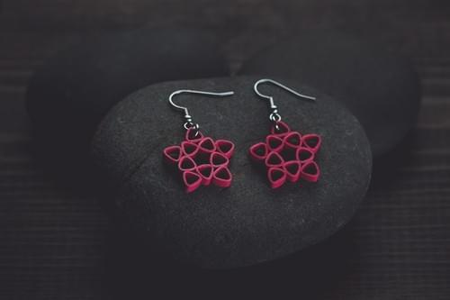 Nakshatra - Star/ Red star earrings/ Quilling earrings/ Red earrings/ Paper earrings