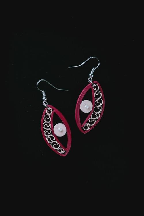 Jyotsna - Moonlight/ Red quilling earrings/ Paper earrings/ Quilling jewelry/ 1st anniversary Gift