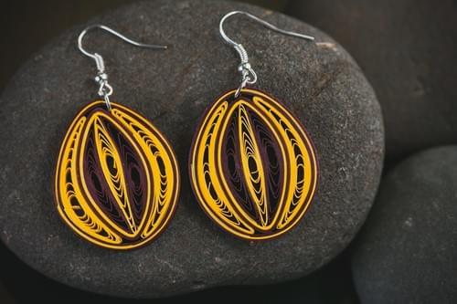 Teja - Radiant/ Quilling Earrings/ Yellow Earrings/ Paper Earrings/ Cleveland Cavaliers Fans
